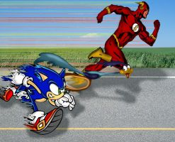 Sonic VS Flash VS Roadrunner by gelo-tim