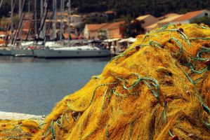 Nets in Fiscardo by Clerdy