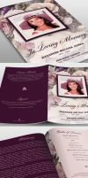 Purple Floral Funeral Program Template by loswl