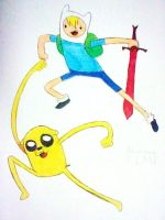 finn and jake by domo-nik