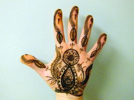 Henna tattoo left hand palm by JJShaver