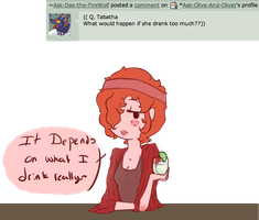Tabby Q 1:  drinks? by Ask-Olive-And-Oliver