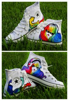 Rainbow Hair Girls Shoes by pinkbutterflyofdeath