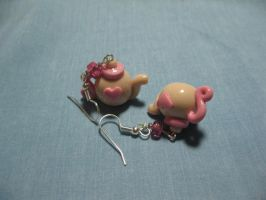 Pink and Beige Teapot Earrings by kitcat4056