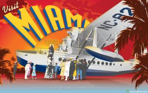 Vintage Miami Florida Travel Poster by Vectree