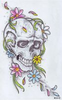 Flower Skull by vikingtattoo