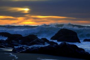 Sonoma Coast Surf and Sunset by sellsworth