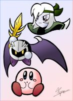 Kirby, Meta Knight, and Silica by Pyrou