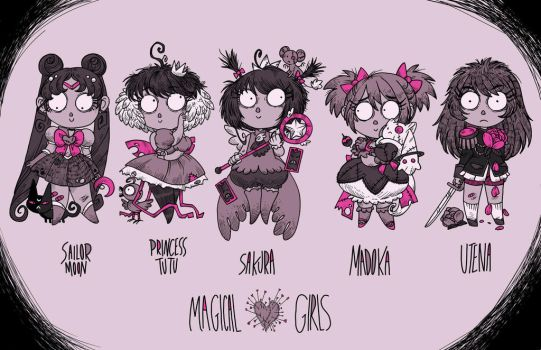 Burtonized Magical girls by secondlina