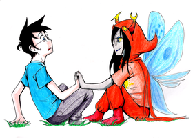 John and Vriska - Nightfall by cataruta