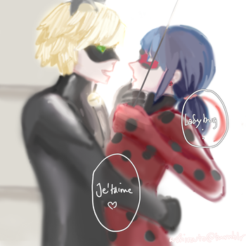 Day 2 [Cuddling Somewhere] Catnoir and Ladybug by a-shirouto