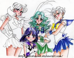 sketches of new drawings -outer senshi pt 2 by zelldinchit