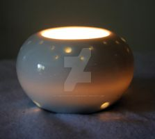 OOAK Porcelain Ceramic White Sphere Luminary by 1stQueenOfHalloween