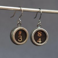 Typewriter Key Earrings by Tanith-Rohe