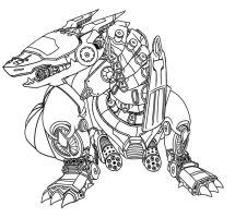 Mecha Dragon Lineart by ayyk92