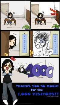 1,000 Visitors congratulations by KamE-pig
