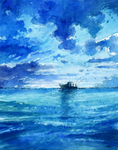 Another beach watercolor by MyCKs