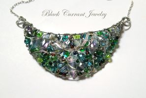 Blue-Green Necklace by blackcurrantjewelry