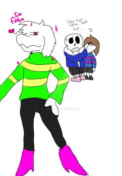 Really poorly drawn Asriel with Mettatons legs. by Comycatdarkangel