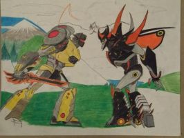 Beast Hunters Grimlock vs Predaking. by reclaimerart