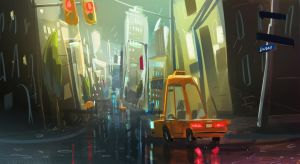Rainy city speedpaint by VincentBisschop