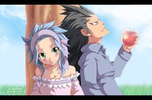 Levy and Gajeel color by StingCunha