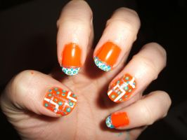 Orange with Blue and Green tips and squares by lettym