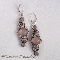 Theodora Earrings in Rose Quartz by Wiresculptress