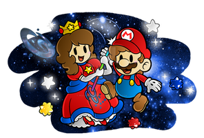 .:Mario and Clo - Sparkle Galaxy:. by CloTheMarioLover