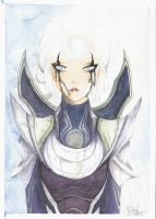 Diana, League of Legends - Watercolor and pencil by rose-92
