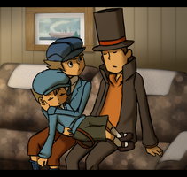 Professor Layton - A nap in the Train by Centainedj