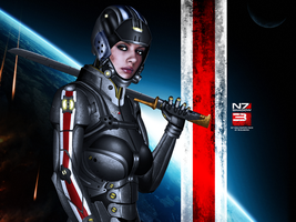 Mass Effect 3 N7 Shadow Wallpaper V2 by RedLineR91