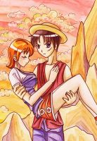 Nami and Luffy by AyaAsakura