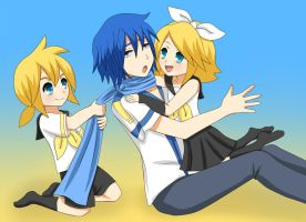 Rin, Len and Kaito : Baby-Sitting by LadyGalatee