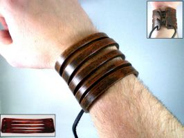 Slashed Leather Cuff Adjustabl by Skinz-N-Hydez