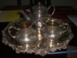 Vintage Silver Tea Set II by cerulean-stock