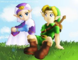 Link and Zelda_Childhood Friends by Meya-san