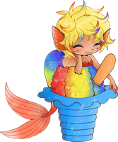 Rainbow Shaved Ice Mermaid Commission by YamPuff