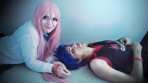 Momoi and Aomine by TheWitchNamine