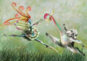 Pixie and the lamb by Delhar