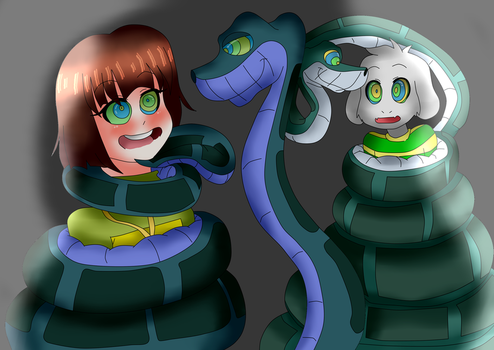 Two Children meets Two Pythons by BillCiphersPuppet