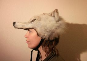 Recycled White Wolf Headdress by NaturePunk