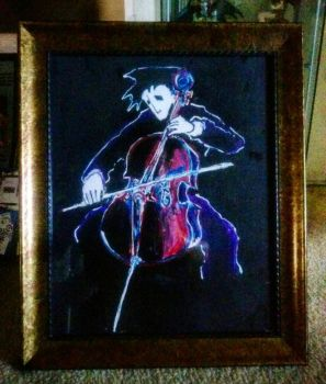 an acrylic painting I did of a cellist by inthemouthofmadness