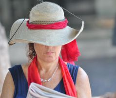Hat reading newspaper - to my friend Maria by Rikitza