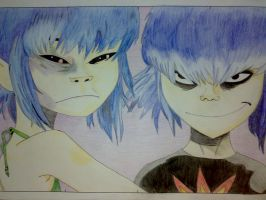 Noodle and Cyborg Noodle by marina-the-hedgehog