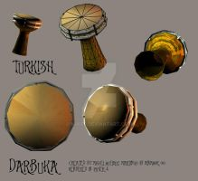 turkish darbuka 3d by Mikiel