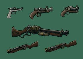 Steampunk Guns part 2 by Harry-the-Fox