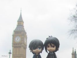 Ciel and Sebastian nendoroids in London by Melkpso