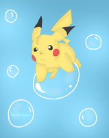 pikachu in bubbles by HeartArtPkm