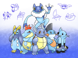 All dem water types by MasaBear